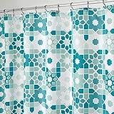 mDesign Tile Floral Duschvorhang aus Stoff, 183 x 183 cm, Grün/Türkis