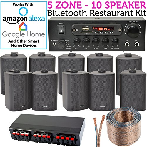 SMART Home 5 Zone Bluetooth Speaker KIT - 10x Schwarze Wandlautsprecher 110W Mini Stereo Verstärker Splitter & Kabel *Echo DOT/Alexa* - Wireless HiFi Audio Musik Sound System - Restaurant Bar Home Zone-kit