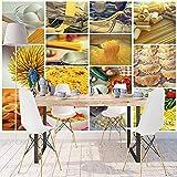 Preparazione degli alimenti Formaggio maccheroni Patchwork 3d Stampa fotografica Tessuto lavabile Murale Decorazioni per la casa Carta da parati Sfondo 300×210cm