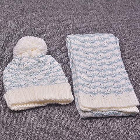 Bambini sciarpa cappello bambino due pezzi cappello sciarpa set baby calda lana berretto a maglia , 4#
