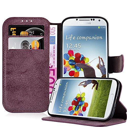 Preisvergleich Produktbild Cadorabo Hülle für Samsung Galaxy S4 - Hülle in MATT ROT – Handyhülle mit Standfunktion und Kartenfach im Retro Design - Case Cover Schutzhülle Etui Tasche Book Klapp Style