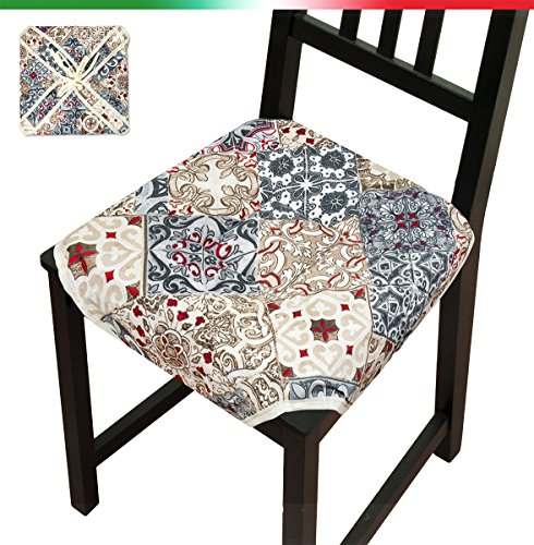 Cuscino copri sedia moderno 40x40cm universale morbido con laccetti e alette cotone 100% made in italy mod.rosa53
