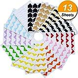 13 Blätter Foto Ecken Selbstklebend Fotoecken für DIY Scrapbook, Bild Album, Persönliches Journal, Tagebuch und Mehr, Mehrfarbig
