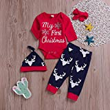 Baby Weihnachten Langarm Brief Top Deer Skin 4 Stück Set 4 Stück Weihnachten Renaissance Boy Brief Top Hirsch Cartoon Print Hosen Kleidung Set Winter warme Winterjacke