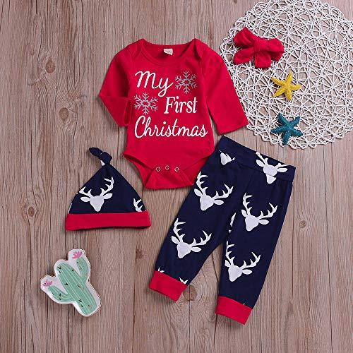 Baby Weihnachten Langarm Brief Top Deer Skin 4 Stück Set 4 Stück Weihnachten Renaissance Boy Brief Top Hirsch Cartoon Print Hosen Kleidung Set Winter warme Winterjacke