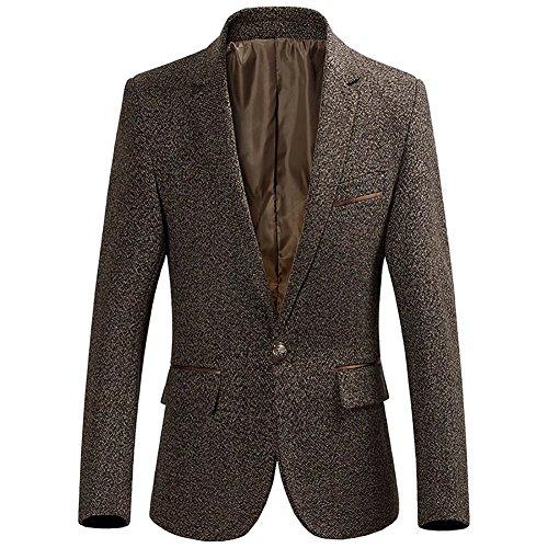 BiSHE Mens eine Schaltfläche Tweed Blazer Mantel Smart formales Abendessen Baumwolle Anzüge Jacket Herren (Tweed-taste)