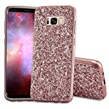 Slynmax Galaxy S8 Plus Hülle Glitzer Bling Schutzhülle Galaxy S8 Plus Hülle Mädchen Soft Slim TPU Silikon Hülle Bumper Style Tasche Luxus Handyhülle Kompatibel mit Samsung Galaxy S8 Plus,Rosegold