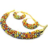 TOI21 Jewellery Exclusive Gold Plated Multicolor Pearl Studded Traditional Temple Necklace Set for Women/Jewellery Set with E