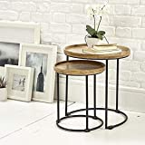Elm home and garden Round nest of Tables, Wood, Wide x 43cm Deep x 47.5cm High