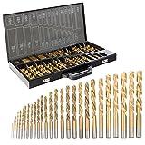 Arebos Spiralbohrer für Metall 230 teilig / Auch für Kunstoff und Holz / Titan-Nitrid-Beschichtung / Mit Zwischengrößen 1 - 13 mm