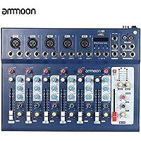 ammoon Mezclador 7 Canales Línea Mic Digital Audio Sonido Consola de Mezcla con Entrada USB 48V Poder Fantasma 3 Bandas de Ecualización para la Grabación de DJ Etapa Karaoke Apreciación Musical