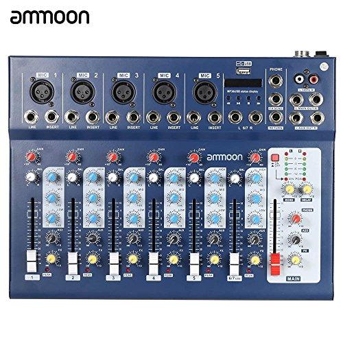 ammoon Mixer Consolle F7-USB 7-Channel Digitale Mic Line Audio Suono con Ingresso USB 48V Potenza Fantasma 3 Equalizzatori di Bande per Registrazione DJ Palcoscenico Karaoke Apprezzamento per Musica