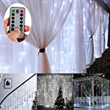 Battery Operated 300 LED Curtain String lights w/ Remote & Timer, Outdoor Curtain Icicle Wall Lights For Party,Festival, the mall,Hotels,Showcase,Cafe Bar,Stairs,Holiday, Camping Decoration (3 m× 3 meters, Dimmable, Cool White)