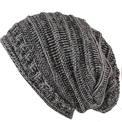 caripe unisex Strick Mütze Long Beanie - lb55 (schwarz-grau meliert)