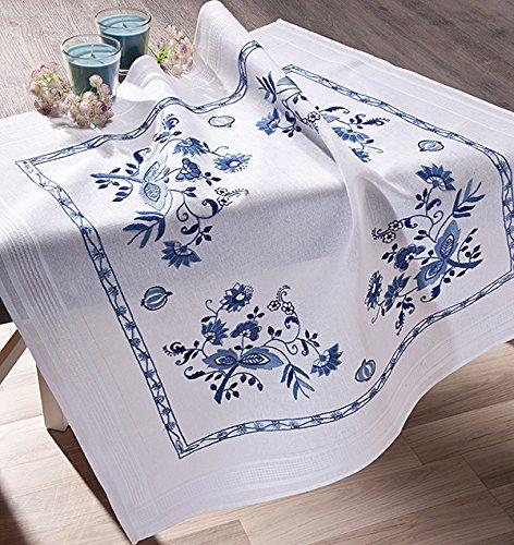 Kamaca - kit per ricamo a punto croce, motivo: fiori classici, 80 x 80 cm, colore: blu