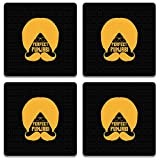 Colorpur Perfect Punjabi Yellow Turban On Black Wooden Square Coaster (Set of 4) - 9.5 cm x 9.5 cm | Artist: Designer Chennai