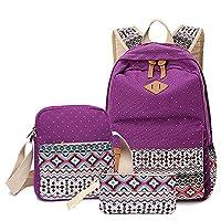Elonglin 3 PCS School Backpack Travel Bag Unisex School Bag Collection Lightweight Canvas Backpack Casual Daypack + Shoulder Bag + Pencil Case for Teenages Purple