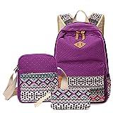 Elonglin Unisex Kinder Erwachsene Schultaschen-Set 3 Stück Segeltuch Schultasche Rucksack Daypack Schultertaschen Mischfarbe Kinderrucksäcke Lila one Size