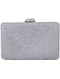 CLOCOLOR Bolso de mano con diamantes cristales brillantes cartera de mano con cadena metal larga estilo elegante bolso de fiesta para mujer
