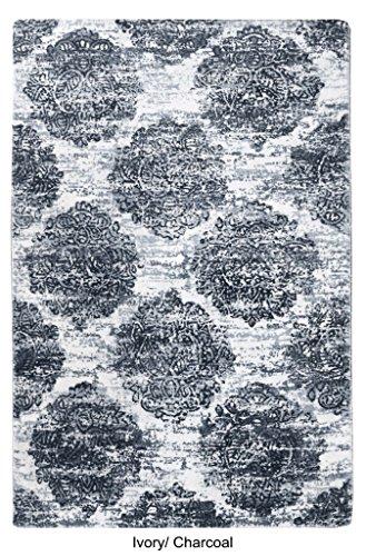 La Repubblica Tappeto fatto a mano avorio e carbone Tappeto in lana stampato Bielorussia (304x 244cm), 1pezzo