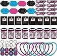 Monster High Party Set 48-teilig für 8 Kinder, 8 Minibücher, 8 Prismen Gucker, 8 Mini Skateboards, 8 Schlüsselanhänger, 8 Armbänder und 8 Lippen Pfeifen