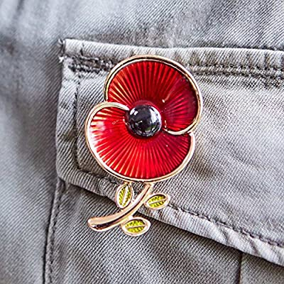 The Poppy Collection ® Enamel and Leaf Brooch Medium Gold