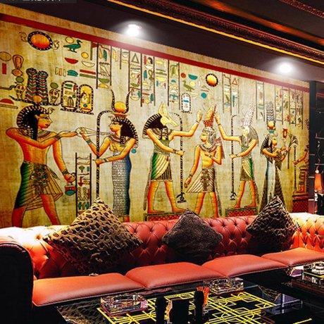 Tsqqst Fototapete 3D Retro Altes Ägypten Ölgemälde Nahtlose Große Wandgemälde Wohnzimmer Sofa Tapete Bar Cafe Hintergrundbild