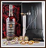 Geschenk Set Jameson Black Barrel Whiskey + Portionierer + 10 Edel Schokoladen von DreiMeister/DaJa + 4 Whisky Fudge, kostenloser Versand