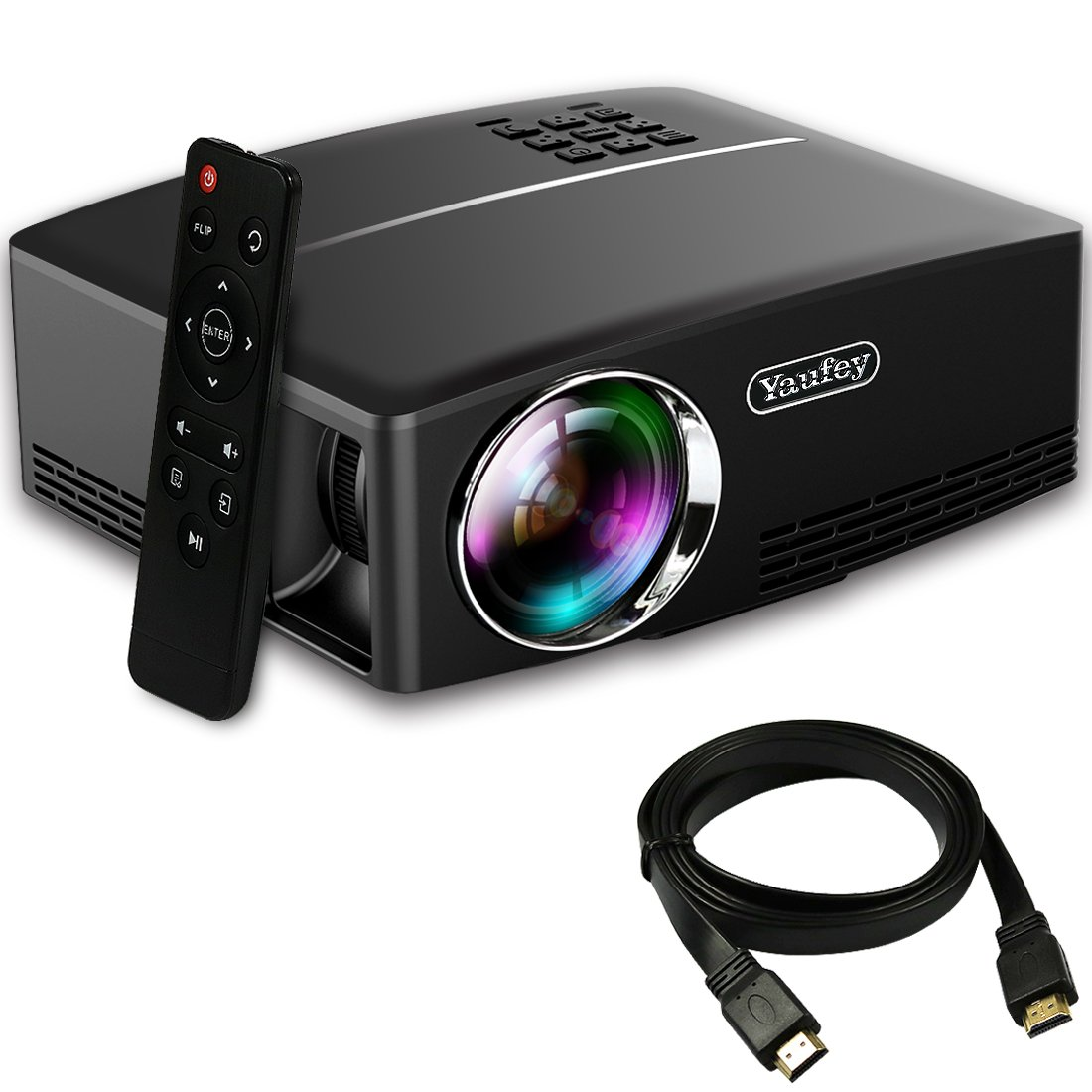 Yaufey 1800 lumens projector with free hdmi cable for Lumen pocket projector