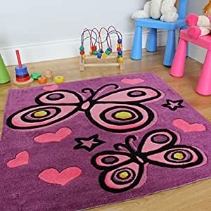 tapis d coration chambre de fille papillon violet 90 x 90cm cuisine maison. Black Bedroom Furniture Sets. Home Design Ideas