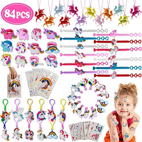 vamei 84 Piezas Aarticulos de Fiesta Niño Unicornio Piñatas de Cumpleaños Diademas Unicornio Pulseras de Juguete Tatuajes Temporales Niños Anillo Niñas Regalos Cumpleaños (A)