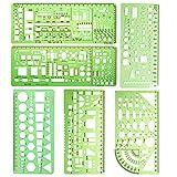 6 PCS Building Vorlage Lineal, technische Zeichnungen Supplies, geometrische Schablonen measurin, Technische Zeichnungen,Building schalungen Zeichnen für Schüler Büro