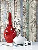 Tapete Vlies Holz Muster in Beige Blau Grün | schöne edle Tapete im Antikholz Design | moderne 3D Optik für Wohnzimmer, Schlafzimmer oder Küche inkl. Newroom-Tapezier-Profibroschüre mit super Tipps!
