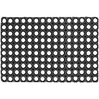 EV 070193Alfombra Felpudo de goma perforada negra 40x 80cm antideslizante, negro