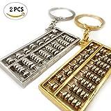 Schlüsselring Golden Silber Abakus aus Metall Schlüsselanhänger Anhang Glückliches Schlüsselketten Autoschlüssel Dekoration Schlüssel Taschen Accessories Glück Anhänger Spezielles Geschenk 2 Stücke