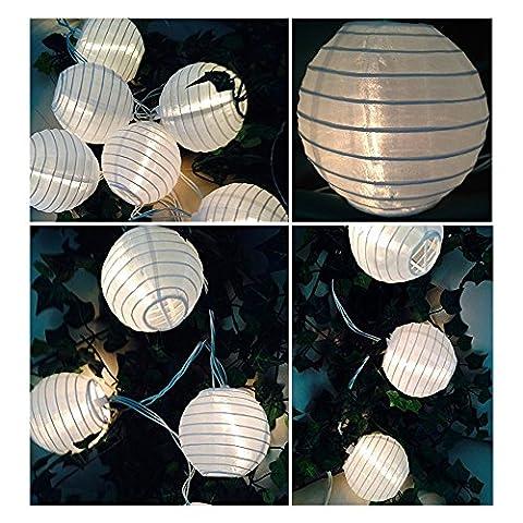 YSM Led Chinesische Laterne-Schnur-Licht 19.68ft 6M 30 LED 2 Modi Wasserdichtes Solar-Weihnachtslicht -Schnur-Licht für Outdoor, Garten, Party, Haus, Hochzeit, Urlaub (neutralweiß )