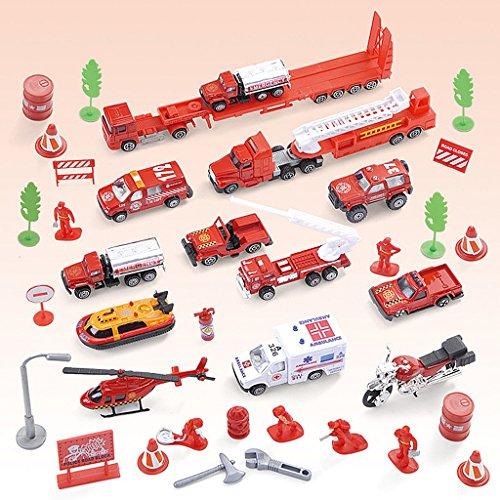 Gazechimp 1/64 Feuerwehrfahrzeug Set Einsatzfahrzeug Unfallrettungs- Fahrzeug Modelle Set, Junge Spielzeug Spielset A