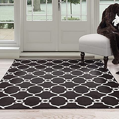 Lavish Home Lattice Area Rug, 8' by 10', Dark Brown/Ivory