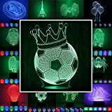 3D Lampe 3D Leuchte 3D LED Stimmungslicht. 7 verschiedene Farben wählbar - Auswahl aus 81 verschiedenen Motiven, hier Fußball ca.23x14cm inkl.Sockel - 3D Illusion Dekolicht mit USB Anschluß und 220V USB Netzteil