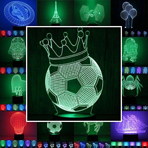 Designscheibe/Motivscheibe für 3D Lampe 3D Leuchte 3D LED Stimmungslicht in vielen verschiedenen Designs, hier Fußball ca.23x14cm ohne Sockel. ACHTUNG. Sie bekommen nur die Scheibe, keinen - Helme Motorrad Fußball