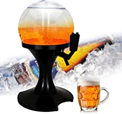Plastic Beverage Dispenser with Stand 1 Gallon Tabletop Beer Tower with Ice Cube Case Keep Juice and Drinks Cold Perfect for Wedding Parties or Travel Outdoor Activities