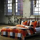 2 tlg. etérea Renforcé Baumwolle Bettwäsche Rian Kariert Karo Orange Grau, 135x200 cm + 80x80 cm