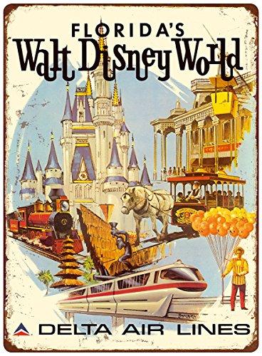 12-x-16in-vintage-metal-sign-floridas-walt-disney-world-delta-air-lines-by-daniel-c-sweeney