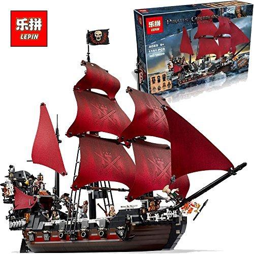#16009 Barbanegra barco pirata 7 mini figuras # LEPIN con la marca set construcción - compatible construcción bricks