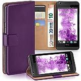 moex HTC Desire 626G | Hülle Lila mit Karten-Fach 360° Book Klapp-Hülle Handytasche Kunst-Leder Handyhülle für HTC Desire 626G/626 Case Flip Cover Schutzhülle Tasche