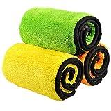 Auto Reinigungstücher (3-Pack), Trehai 840gsm-Mikrofaser Dual Layer Ultra-Thick Polieren und trocknen Tuch (38 x 45 cm)