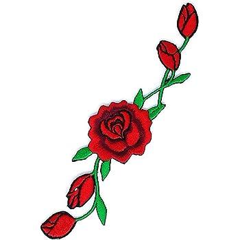 Rote Rosen Mit Wunderschönem Blumenmuster Cartoon Zeichen Hippie