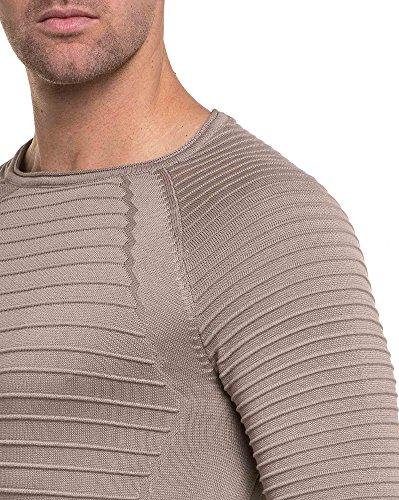 BLZ jeans - Pull homme fin beige nervuré en coupe oversize Beige