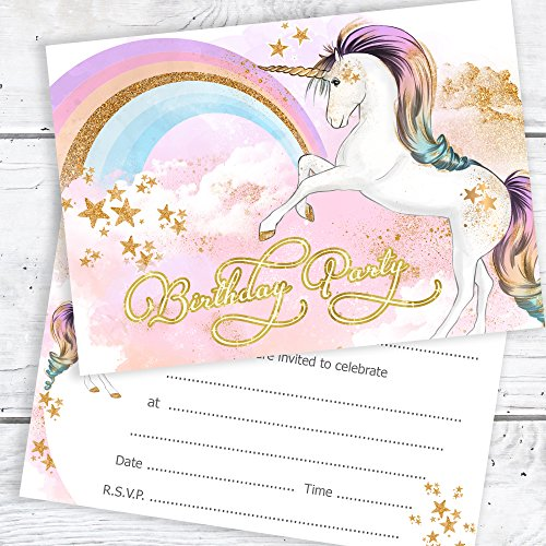 Unicorn-Birthday-Party-Invitations-Girls-Birthday-Invites-Ready-to-Write-with-Envelopes-Pack-10