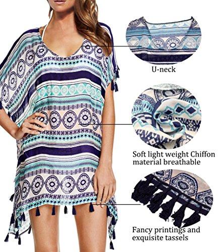 NINGMI Pareo Damen Cover Up Strandkleid Strandponcho Chiffon Striped Bikini  Beach Kleid TypeA